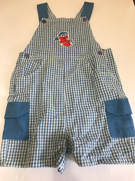 Size: 24 months - Baby Elmo with Baseball Blue and White Gingham Short Overalls