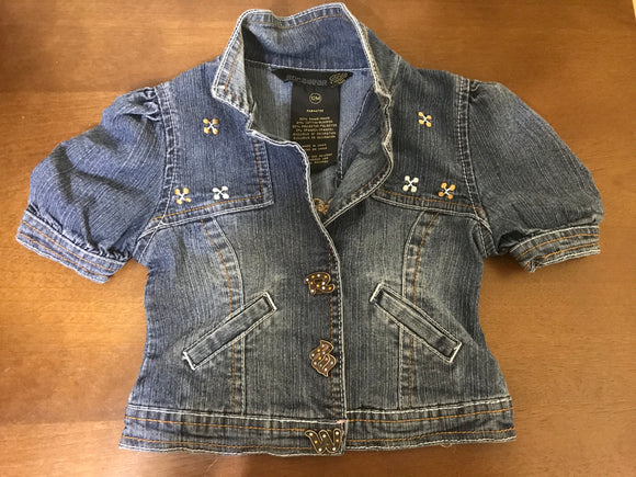 Size: 12 months - RocaWear Dressy Pink and Gold Trimmed Ramie/Cotton Denim Jacket