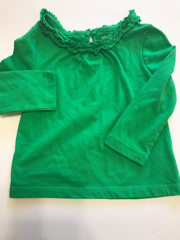 Size: 12-18 months - Green Frill Neck Cotton Shirt by Baby Gap