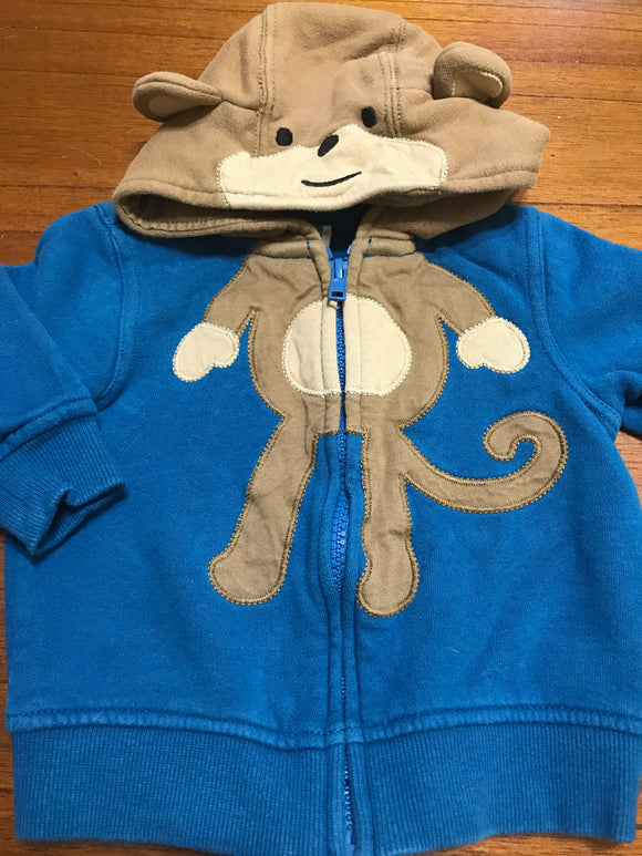 Size: 6-12 months - Bright Blue hooded Monkey Zip Up Sweatshirt from Gymboree