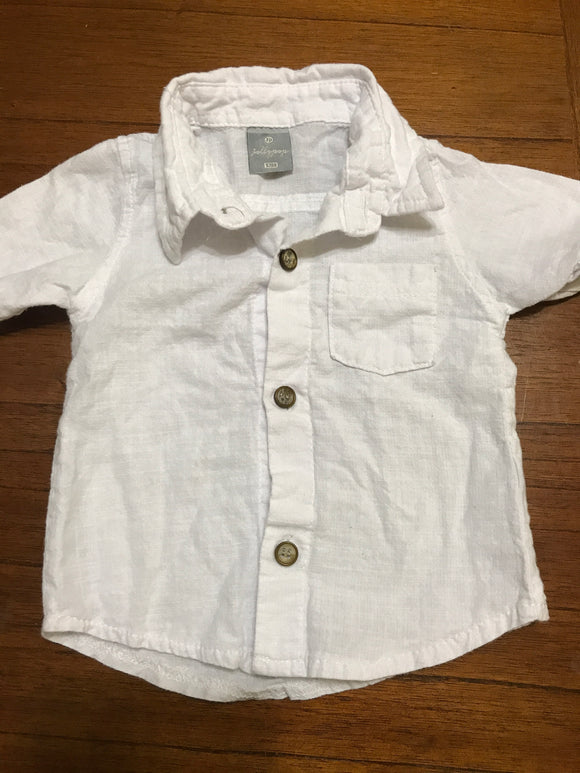 Size: 12 months - Button Up White Linen-Type Shirt
