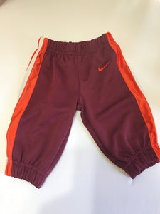 Size: 6-9 months - Nike Burgundy with Orange and White Stripe Athletic Pant