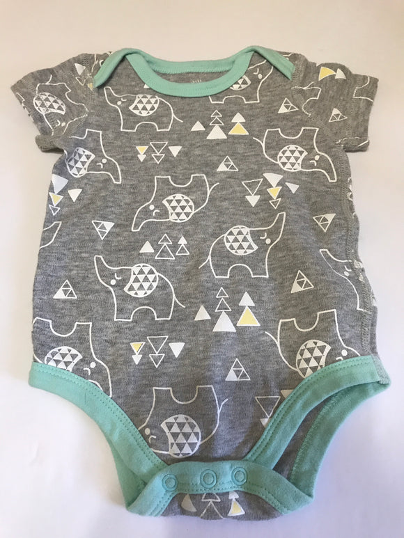 Size: 3 months - Soft Grey Elephant and Triangle Design Onesie