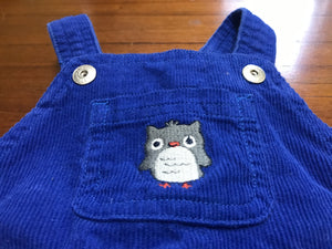 Size: 3-6 months - Bright Blue Corduroy Owl Applique Overalls from Gymboree