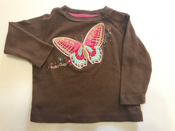 Size: 3-6 months - Baby Gap Cotton Butterfly Applique Shirt
