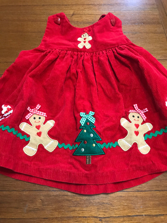 Size: 6-9 months - Red Corduroy Gingerbread Christmas Dress