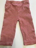 Size: 9-12 months - Touched by Nature Red and White Striped Cotton Leggings