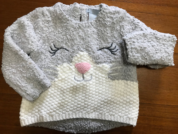 Size: 2T - Warm Winter Kitty Face Sweater