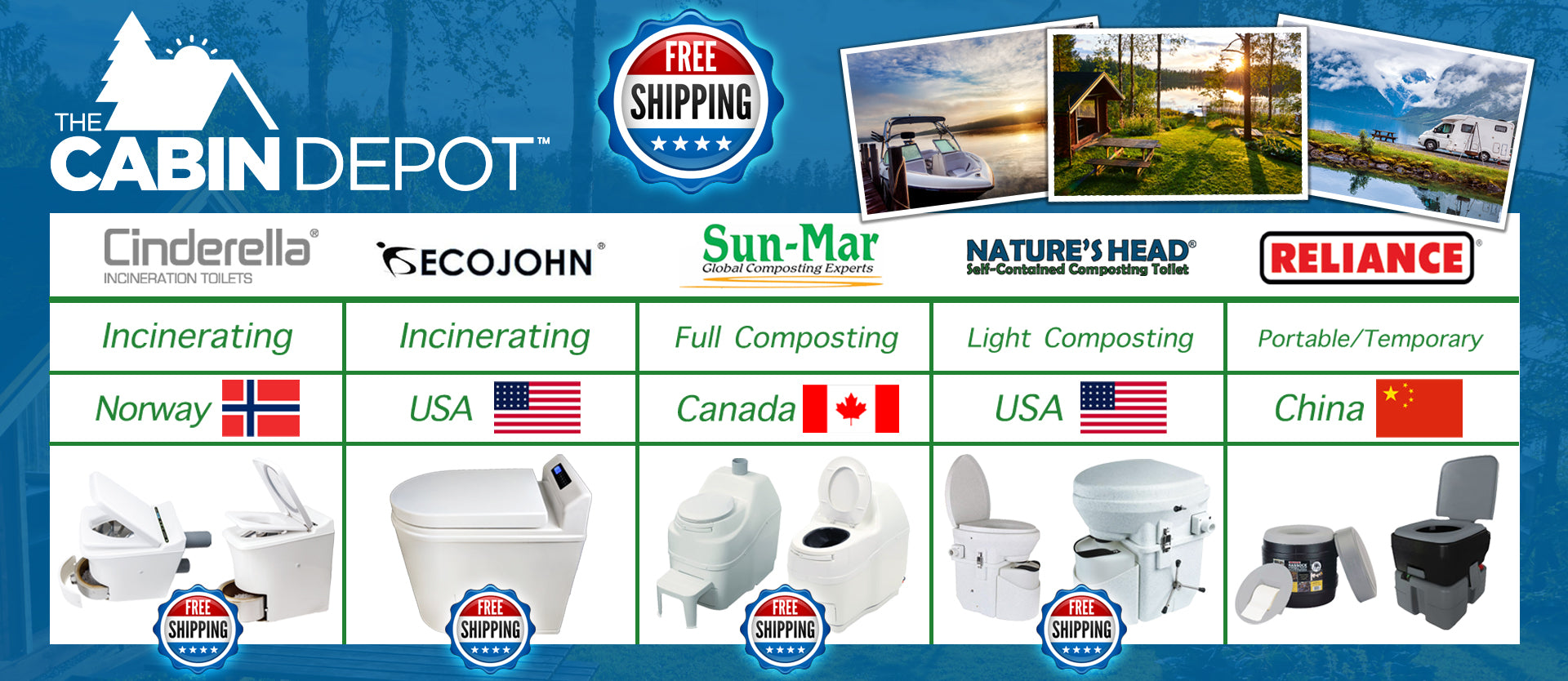 Composting Incinerating and Urine Diverting Natures Head Cinderella EcoJohn Toilets USA by The Cabin Depot