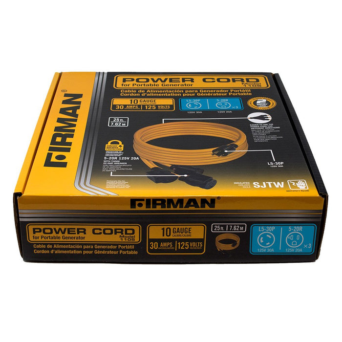 Firman Power Cord L5-30P 30AMP to 5- 20Rx3 1105 Generator Firman- The Cabin Depot Off-Grid Off Grid Living Solutions Cabin Cottage Camp Solar Panel Water Heater Hunting Fishing Boats RVs Outdoors