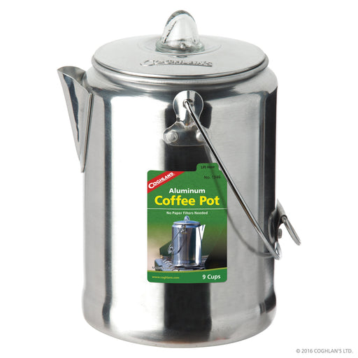 Coghlans Aluminum Coffee Pot 9 cup Camping / Outdoors Coghlans- The Cabin Depot Off-Grid Off Grid Living Solutions Cabin Cottage Camp Solar Panel Water Heater Hunting Fishing Boats RVs Outdoors