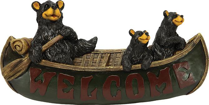 Bears In Canoe Welcome Sign Leisure Rivers Edge- The Cabin Depot Off-Grid Off Grid Living Solutions Cabin Cottage Camp Solar Panel Water Heater Hunting Fishing Boats RVs Outdoors