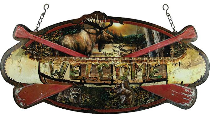 Hanging Canoe Metal Sign Leisure The Cabin Depot- The Cabin Depot Off-Grid Off Grid Living Solutions Cabin Cottage Camp Solar Panel Water Heater Hunting Fishing Boats RVs Outdoors