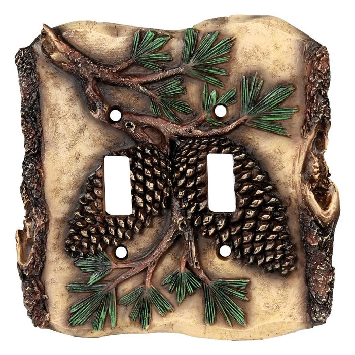 Switch Cover Plate Double - Pine Cone