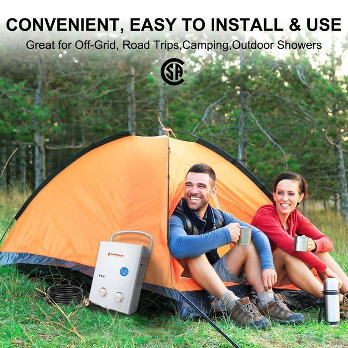 Camplux 5L Portable Tankless Water Heater (CSA Certified For Outdoor Use) w/ Eccoflo Pump & Strainer
