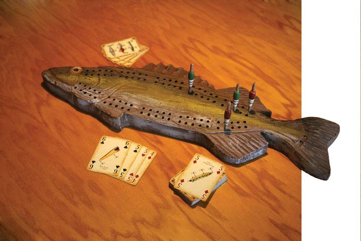 Hand-Carved Fish Cribbage Board Leisure The Cabin Depot- The Cabin Depot Off-Grid Off Grid Living Solutions Cabin Cottage Camp Solar Panel Water Heater Hunting Fishing Boats RVs Outdoors