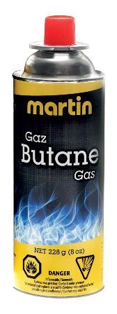 Martin Butane Cartridge / Bottle 228g Leisure The Cabin Depot- The Cabin Depot Off-Grid Off Grid Living Solutions Cabin Cottage Camp Solar Panel Water Heater Hunting Fishing Boats RVs Outdoors