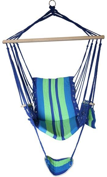 HAMMOCK CHAIR WITH FOOT REST GREEN/BLUE