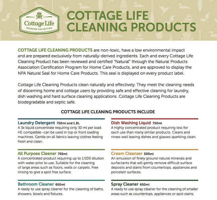 Cottage Life All Purpose Cleaner 750ml Cleaning Products Bebbington Industries- The Cabin Depot Off-Grid Off Grid Living Solutions Cabin Cottage Camp Solar Panel Water Heater Hunting Fishing Boats RVs Outdoors