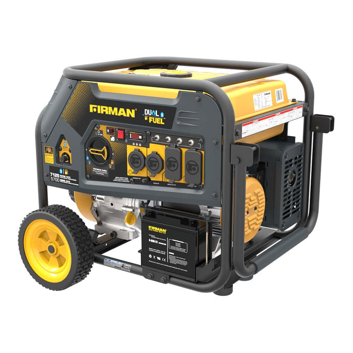 Firman Generator H05751 Hybrid Series DUAL FUEL (Propane or Gas) 7125W/ 5700W Electric/Recoil Start