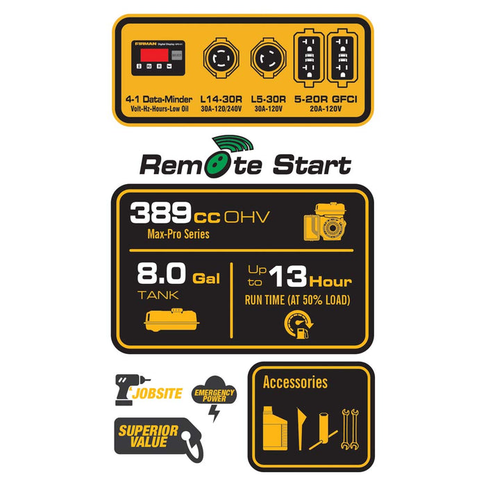 FIRMAN Generator P05702 Performance Series 7125W/5700W Remote/Electric/Recoil Start