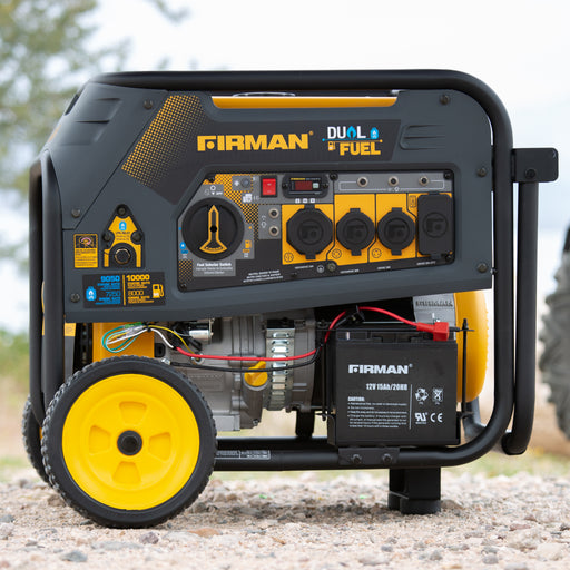 Firman Generator H08051 Hybrid Series DUAL FUEL (Propane or Gas) 10,000/8000 Watt Electric/Recoil Start