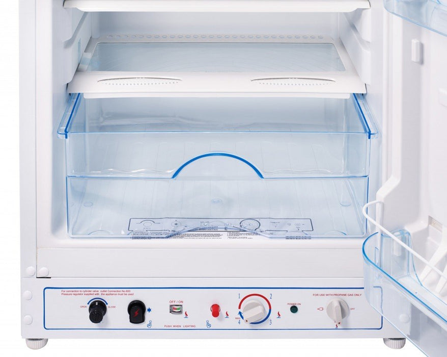 UNIQUE 8 CU/FT Propane Fridge with Freezer - White