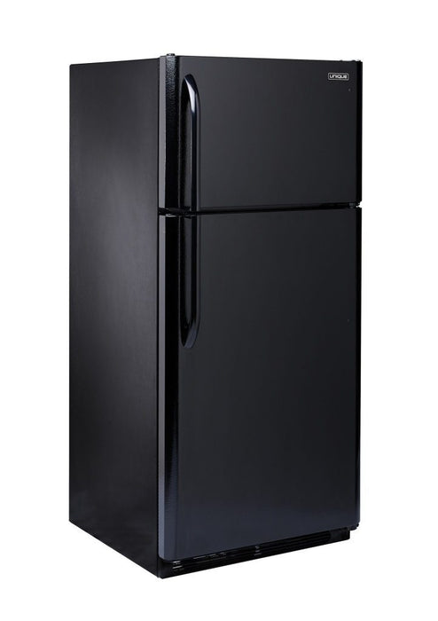 UNIQUE 18 CU/FT Propane Fridge with Freezer - Black