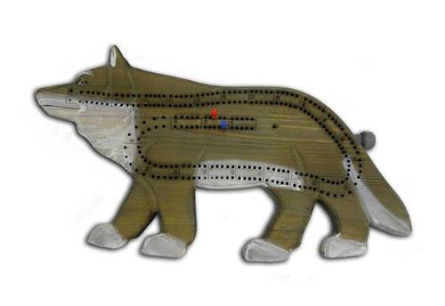 Hand-Carved Wolf Cribbage Board Leisure The Cabin Depot- The Cabin Depot Off-Grid Off Grid Living Solutions Cabin Cottage Camp Solar Panel Water Heater Hunting Fishing Boats RVs Outdoors