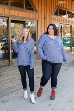Load image into Gallery viewer, Wavy Navy Puff Sleeve Top