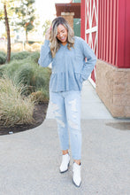 Load image into Gallery viewer, Denim Blue's Ruffled Hoodie