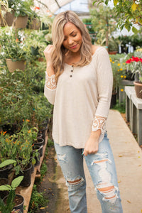 Cuffed With Love 3/4 Sleeve Top in Oatmeal