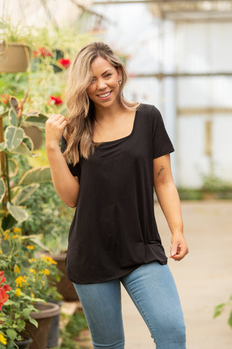 Sure To Love Black Short Sleeve Top