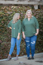 Load image into Gallery viewer, Quaint and Comfy 3/4 Sleeve Top in Olive
