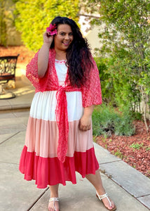 Embellished Beauty Tiered Color Block Dress