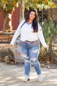 Snowy Leopard Front Twist Top
