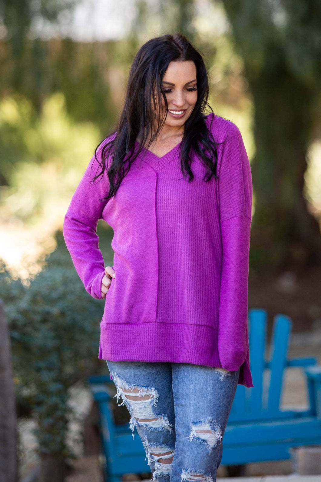 More Than Meets The Eye Long Sleeve Waffle Knit Top