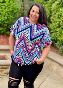 Mad About Chevron Ruffle Sleeve Top