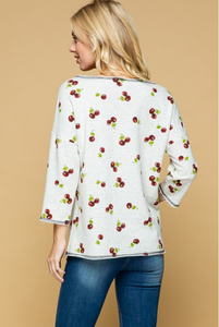Cherries Jubilee 3/4 Sleeve Top