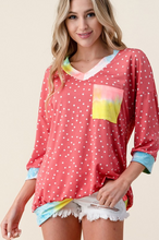 Load image into Gallery viewer, Pretty In Polka Dots 3/4 Sleeve Top