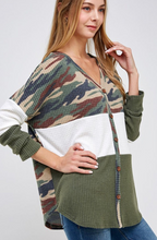 Load image into Gallery viewer, Hide Away Camo Waffle Knit Top