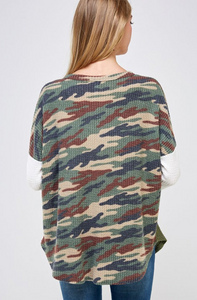 Hide Away Camo Waffle Knit Top
