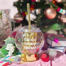 Load image into Gallery viewer, Cheers Holiday Snowglobe Sipper