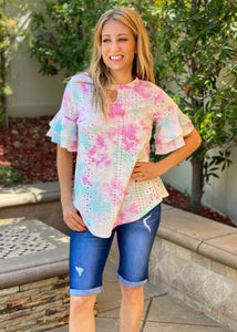 Watercolor Eyelet Short Sleeve Top