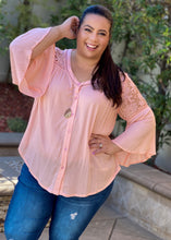 Load image into Gallery viewer, Just Peachy Lace Button Down Blouse