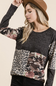 Patch Me Up Long Sleeve Top