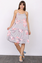 Load image into Gallery viewer, Dusty Floral Tiered Midi Dress