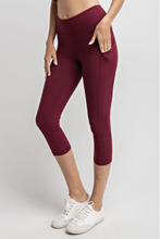 Load image into Gallery viewer, Yoga-na Love These Capri Leggings in Burgundy
