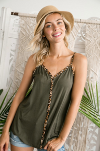 Cute as a Button Leopard Trim Tank
