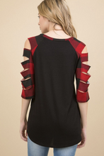Load image into Gallery viewer, Red Plaid Laser Cut Top